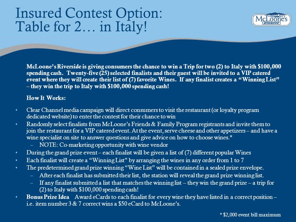 Insured Contest Option: Table for 2… in Italy!