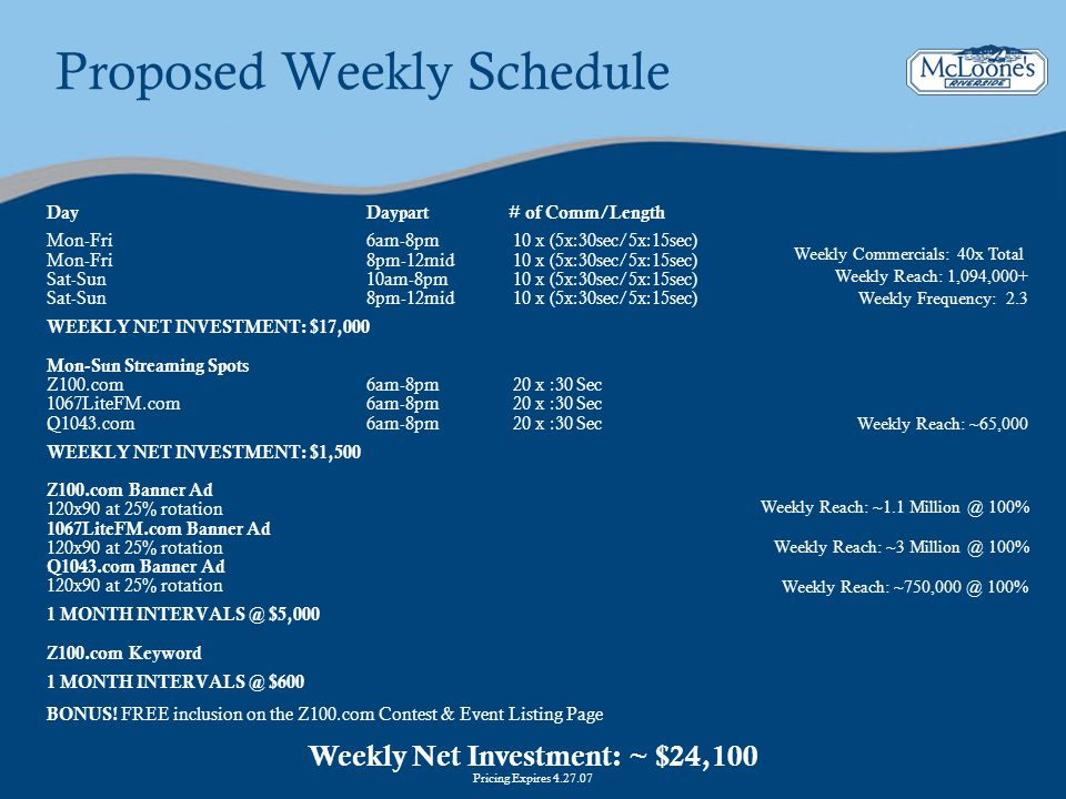 Proposed Weekly Schedule