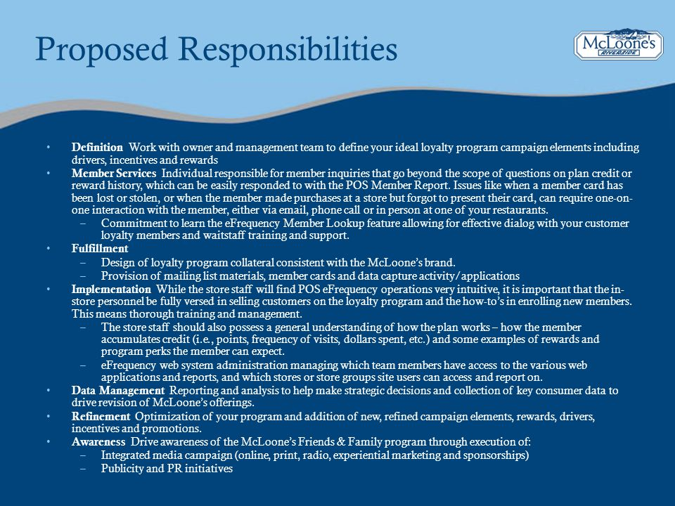 Proposed Responsibilities