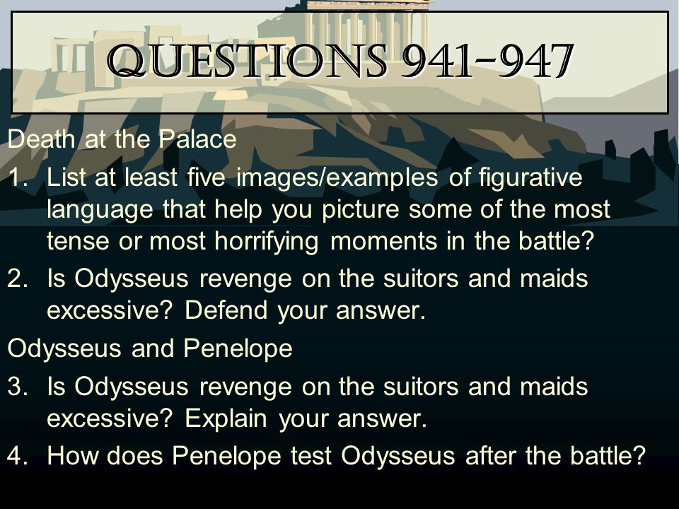 Questions 941-947 Death at the Palace