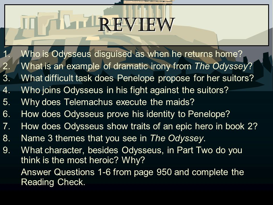 Review Who is Odysseus disguised as when he returns home