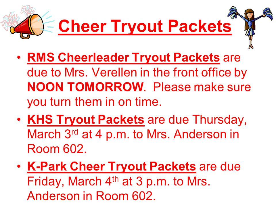Cheer Tryout Packets