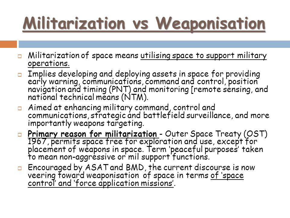 Militarization vs Weaponisation