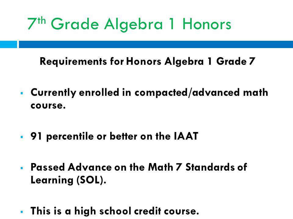 7th Grade Algebra 1 Honors