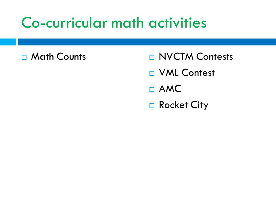 Co-curricular math activities