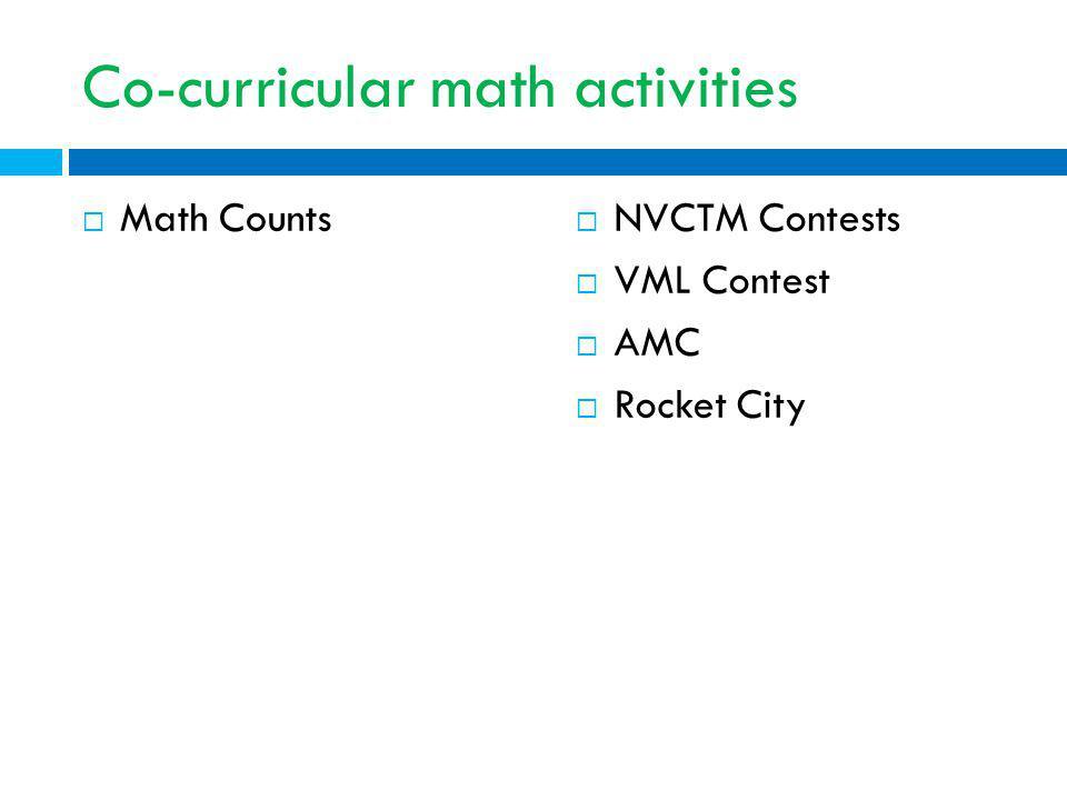 Co-curricular math activities