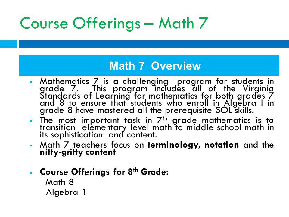 Course Offerings – Math 7