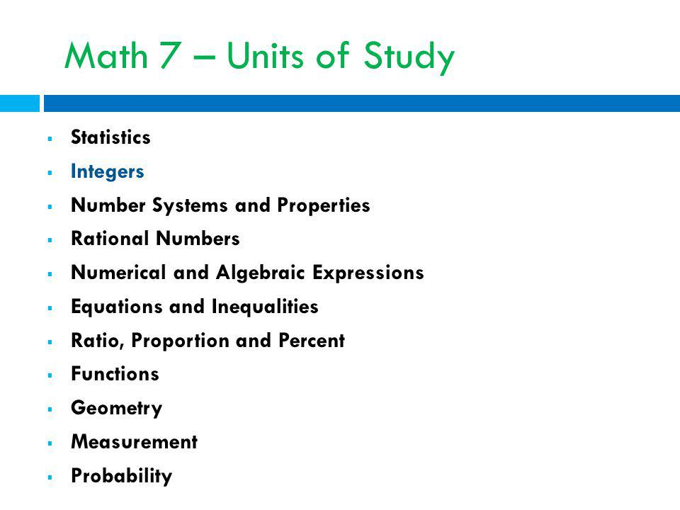 Math 7 – Units of Study Statistics Integers