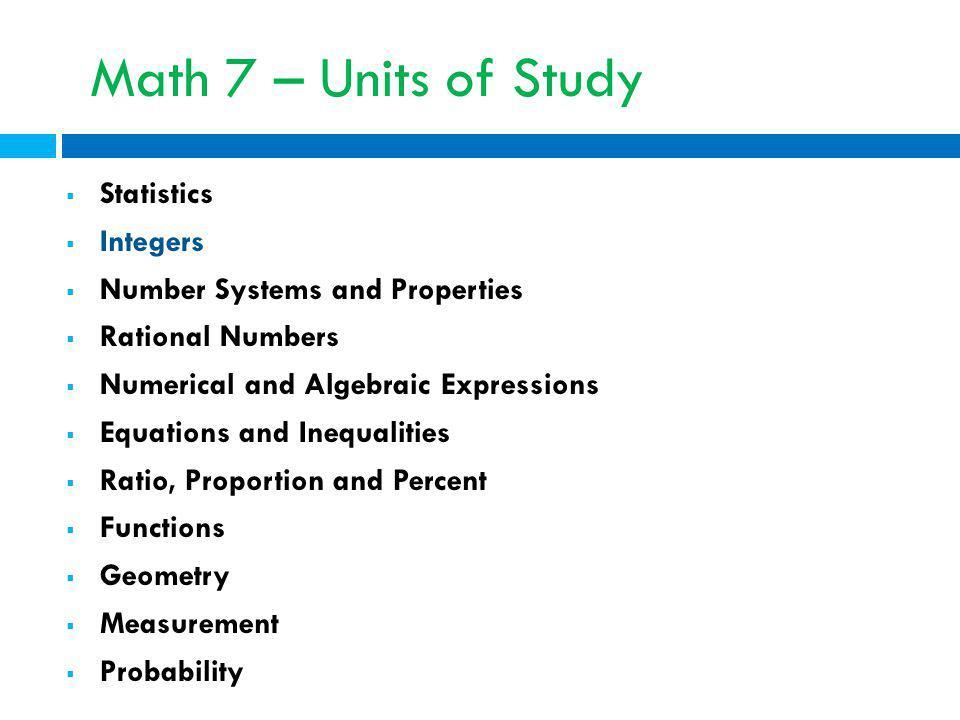 Math 7 – Units of Study Statistics Integers