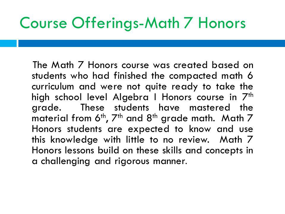 Course Offerings-Math 7 Honors