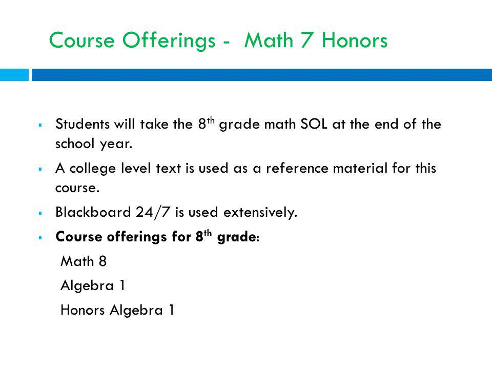 Course Offerings - Math 7 Honors