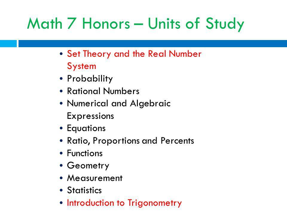 Math 7 Honors – Units of Study