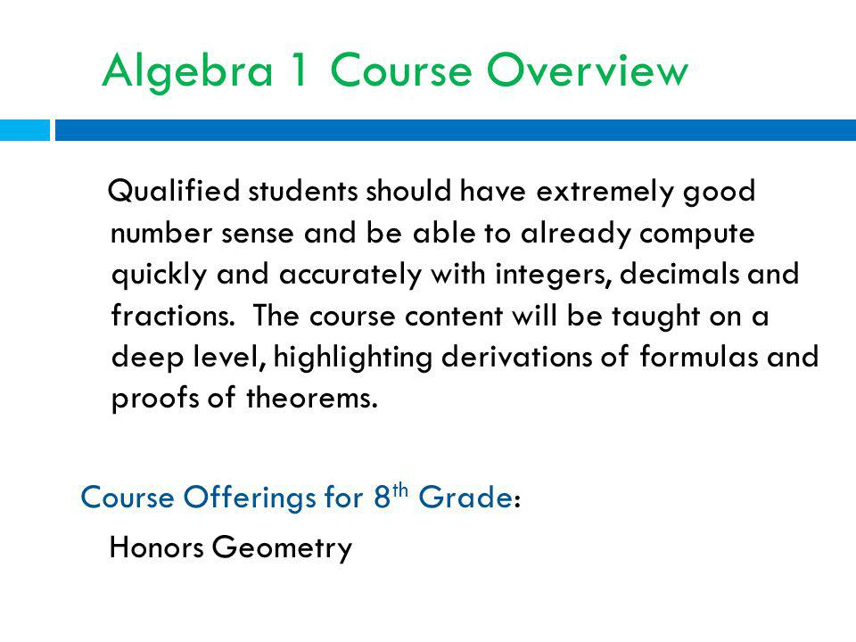 Algebra 1 Course Overview