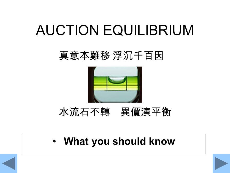 AUCTION EQUILIBRIUM 真意本難移 浮沉千百因 水流石不轉 異價演平衡 What you should know