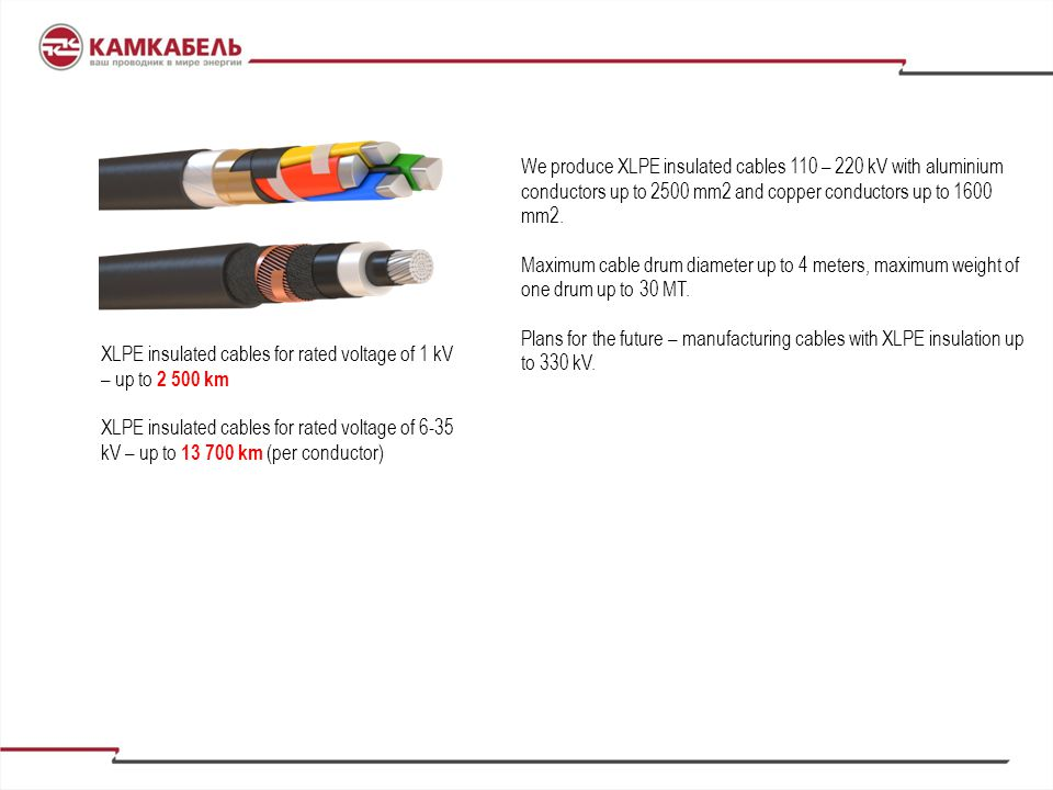 We produce XLPE insulated cables 110 – 220 kV with aluminium conductors up to 2500 mm2 and copper conductors up to 1600 mm2.