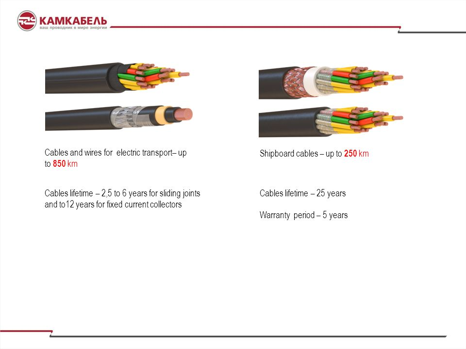 Cables and wires for electric transport– up to 850 km
