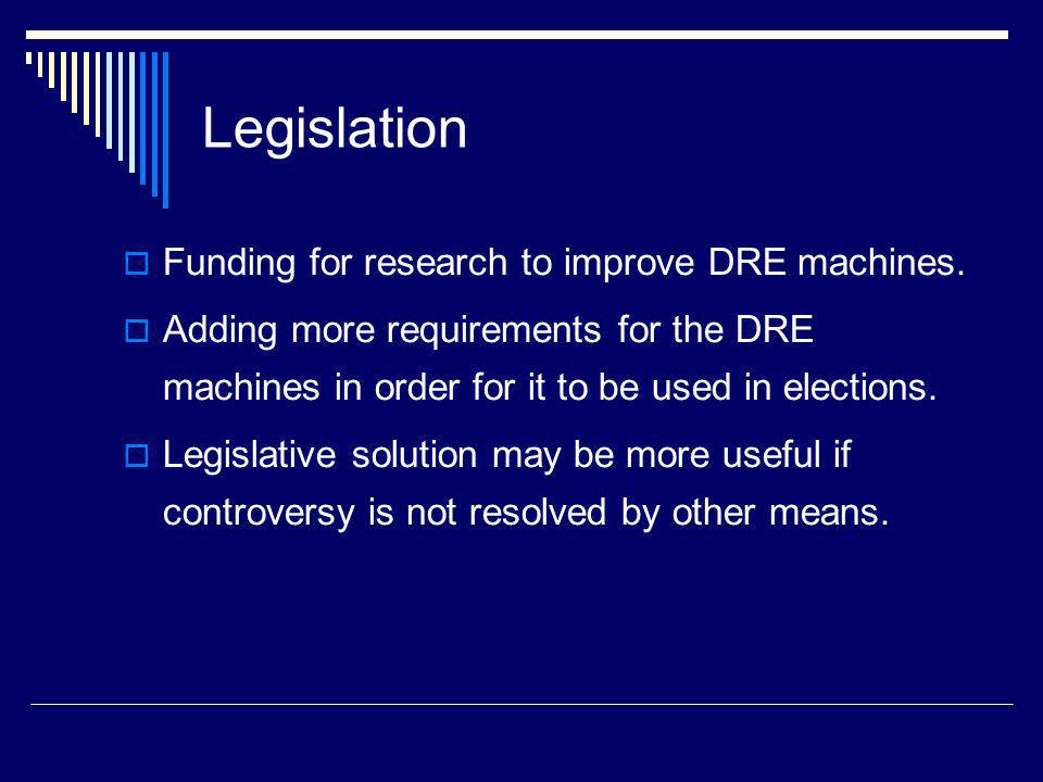 Legislation Funding for research to improve DRE machines.