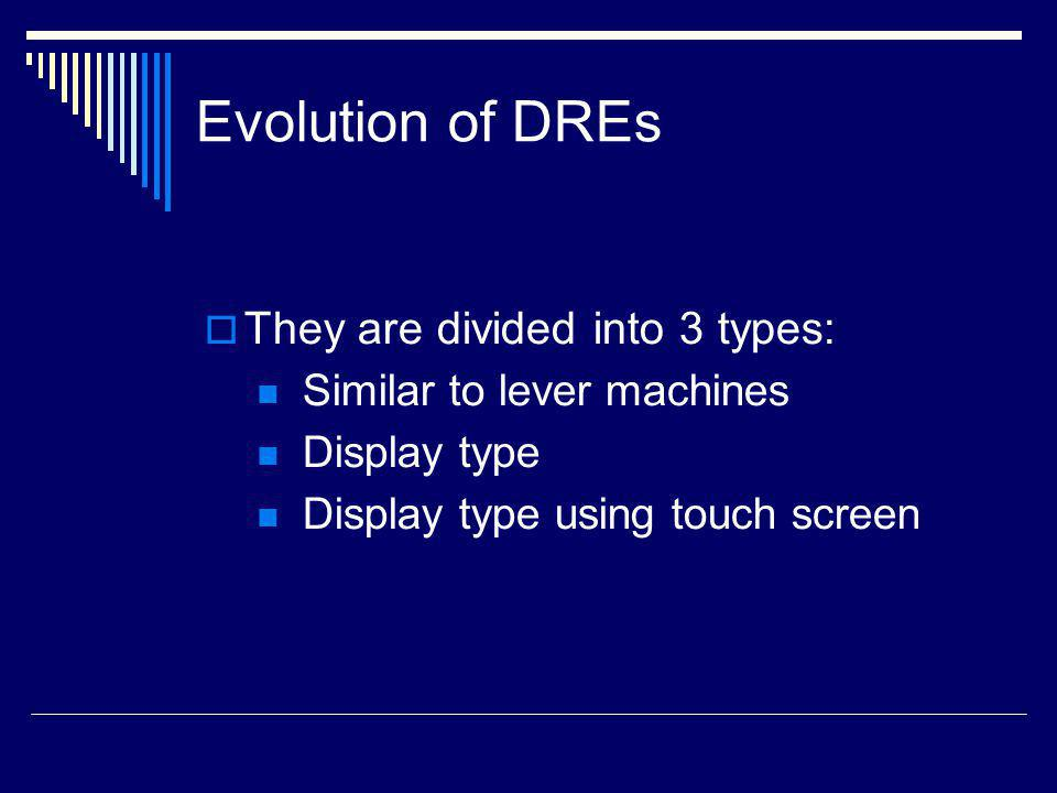 Evolution of DREs They are divided into 3 types: