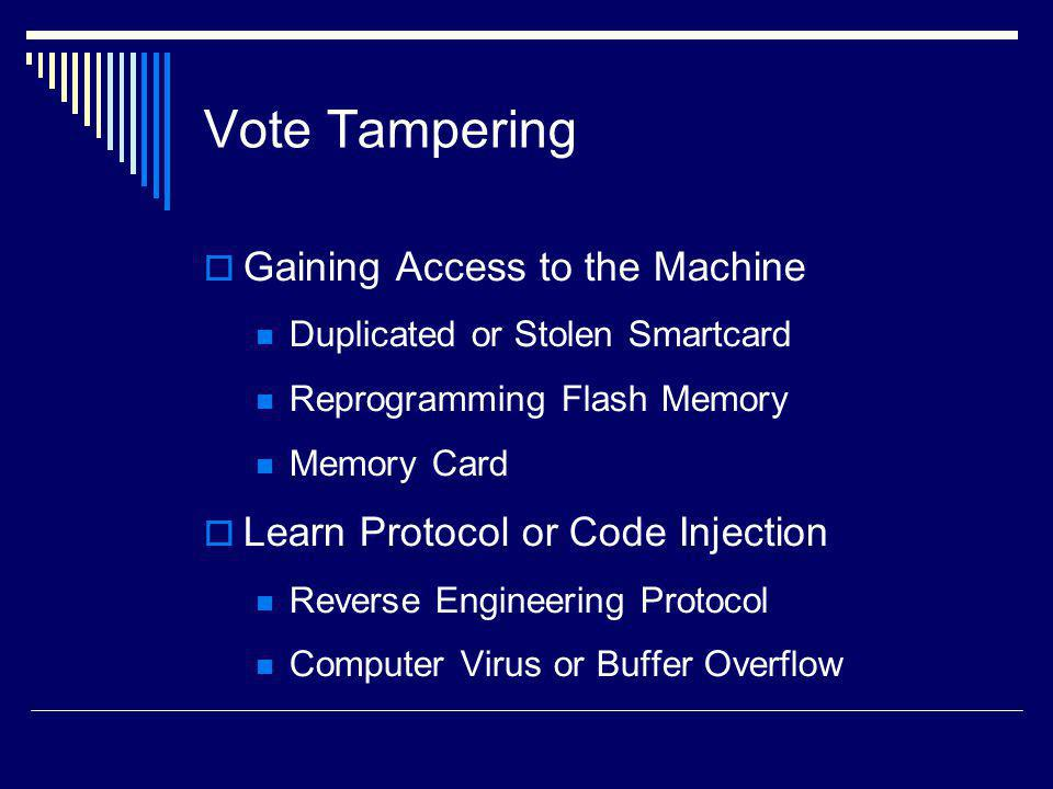 Vote Tampering Gaining Access to the Machine