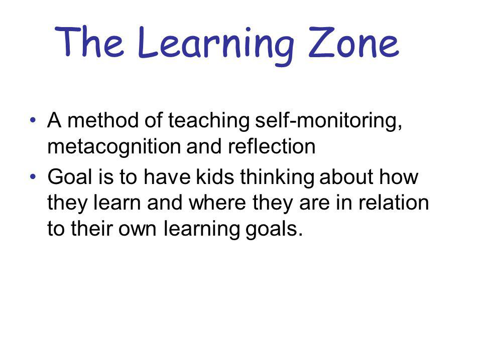 The Learning Zone A method of teaching self-monitoring, metacognition and reflection.