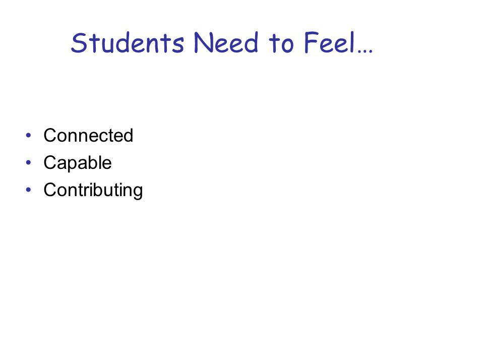 Students Need to Feel… Connected Capable Contributing