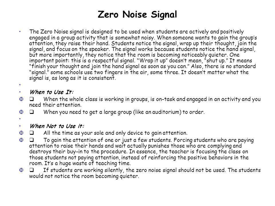 Zero Noise Signal