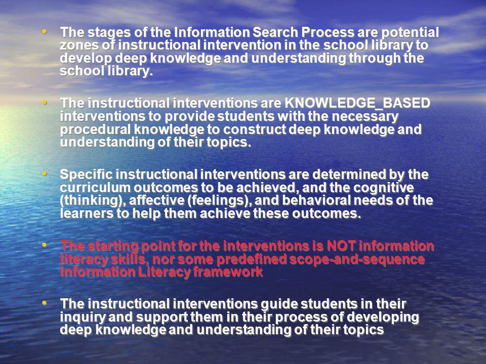 The stages of the Information Search Process are potential zones of instructional intervention in the school library to develop deep knowledge and understanding through the school library.