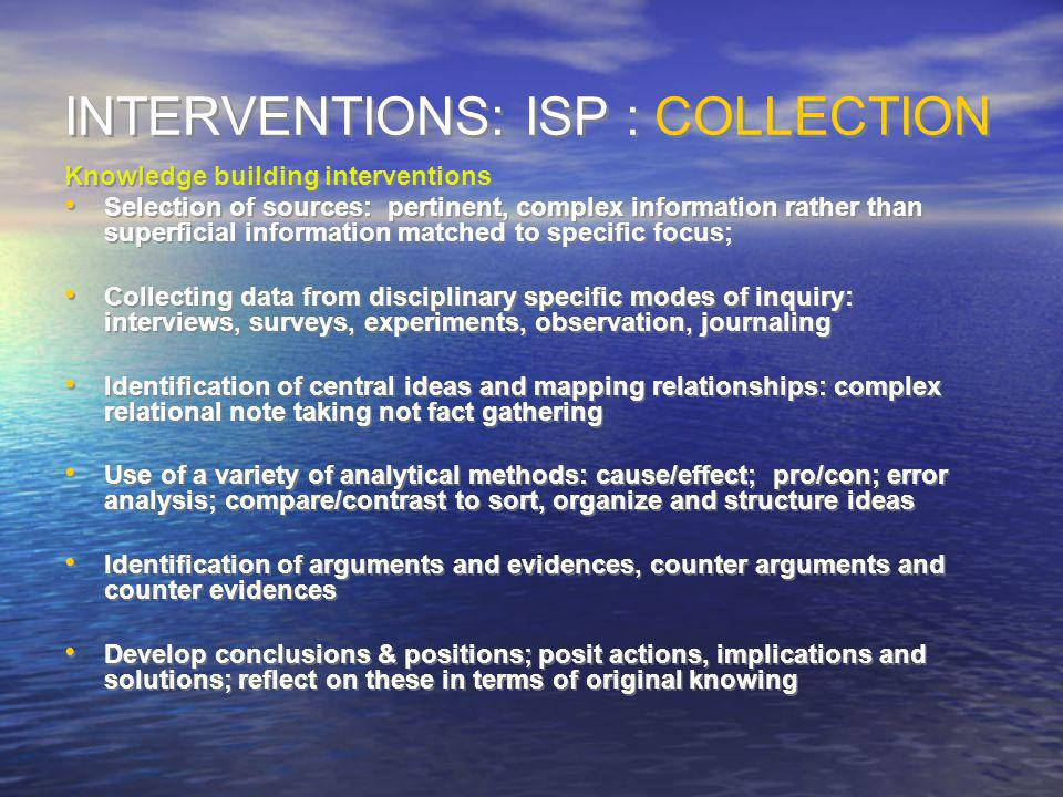 INTERVENTIONS: ISP : COLLECTION