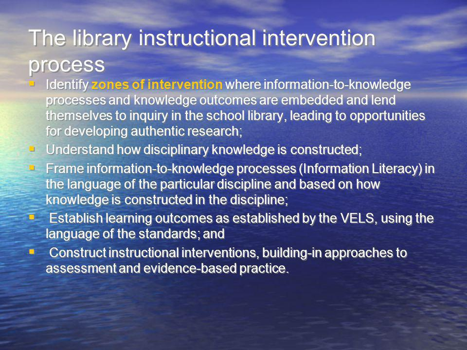 The library instructional intervention process