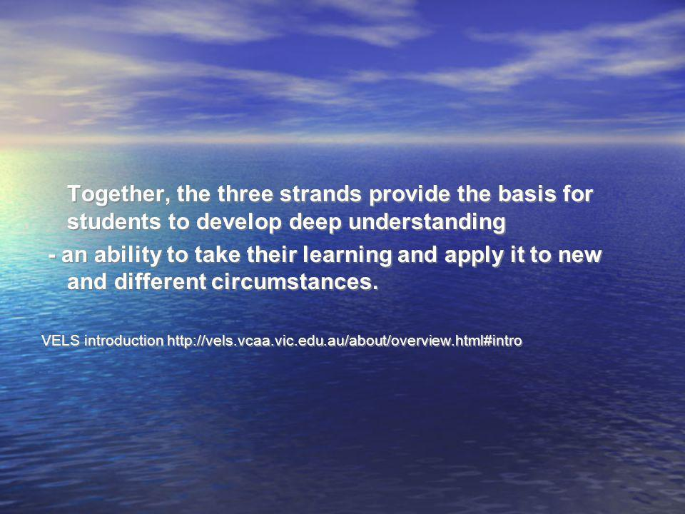 Together, the three strands provide the basis for students to develop deep understanding