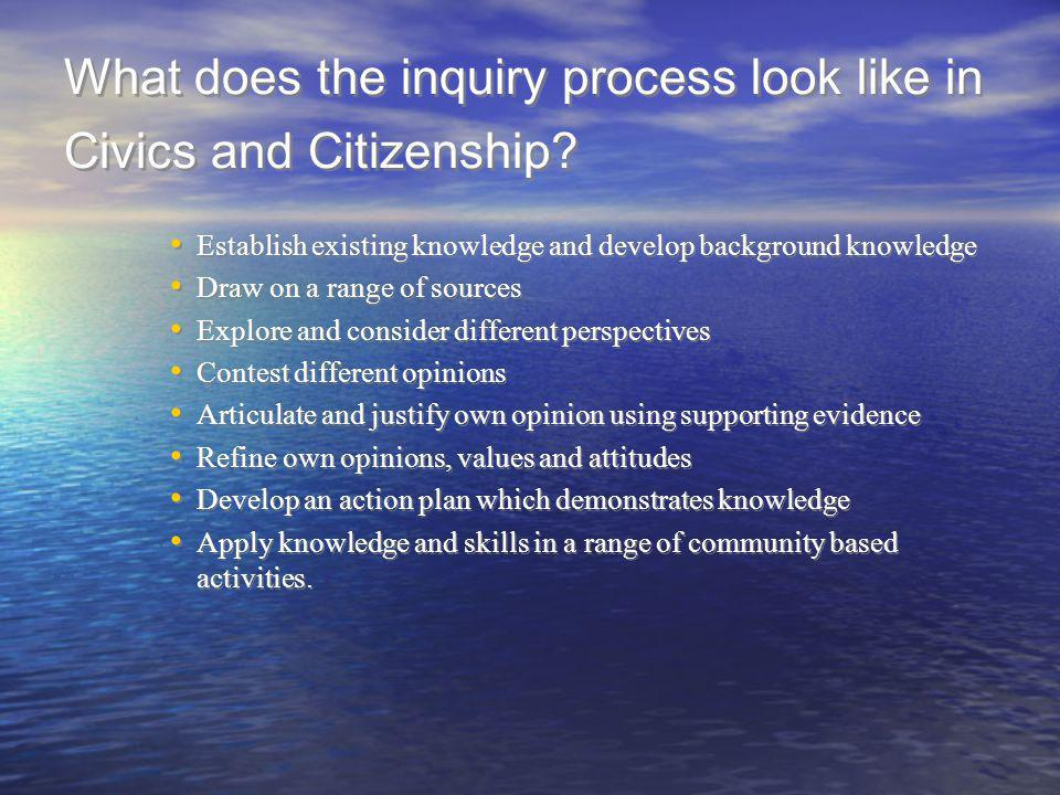 What does the inquiry process look like in Civics and Citizenship