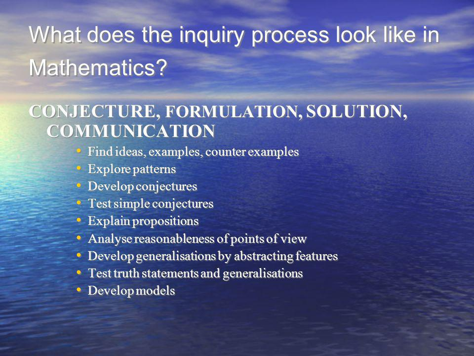 What does the inquiry process look like in Mathematics