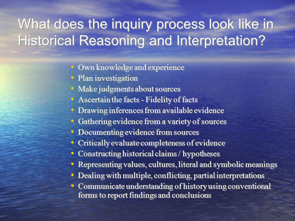 What does the inquiry process look like in Historical Reasoning and Interpretation