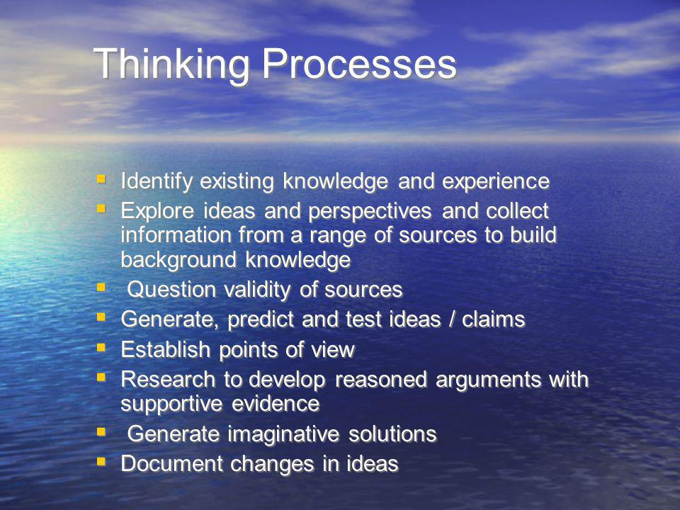 Thinking Processes Identify existing knowledge and experience