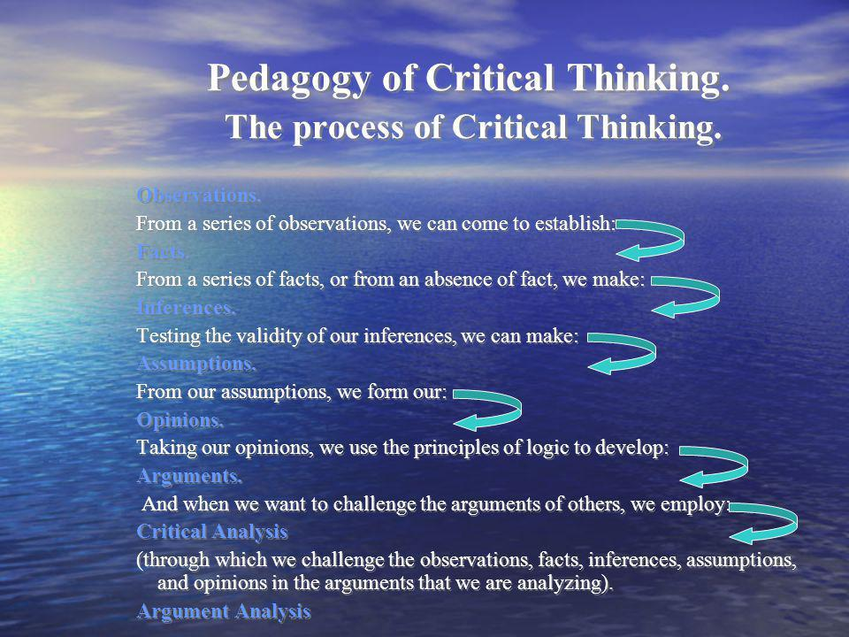 Pedagogy of Critical Thinking. The process of Critical Thinking.