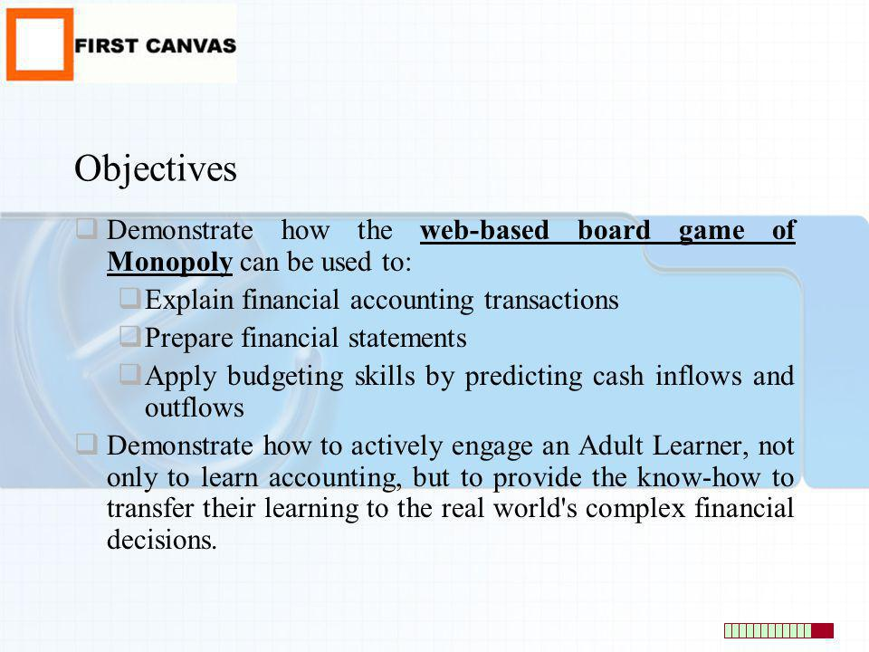 Objectives Demonstrate how the web-based board game of Monopoly can be used to: Explain financial accounting transactions.