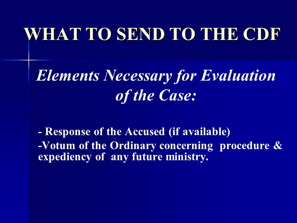 Elements Necessary for Evaluation