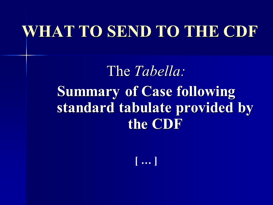 Summary of Case following standard tabulate provided by the CDF