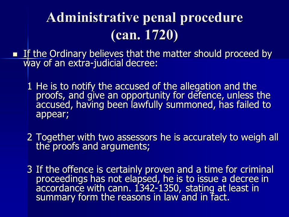 Administrative penal procedure (can. 1720)
