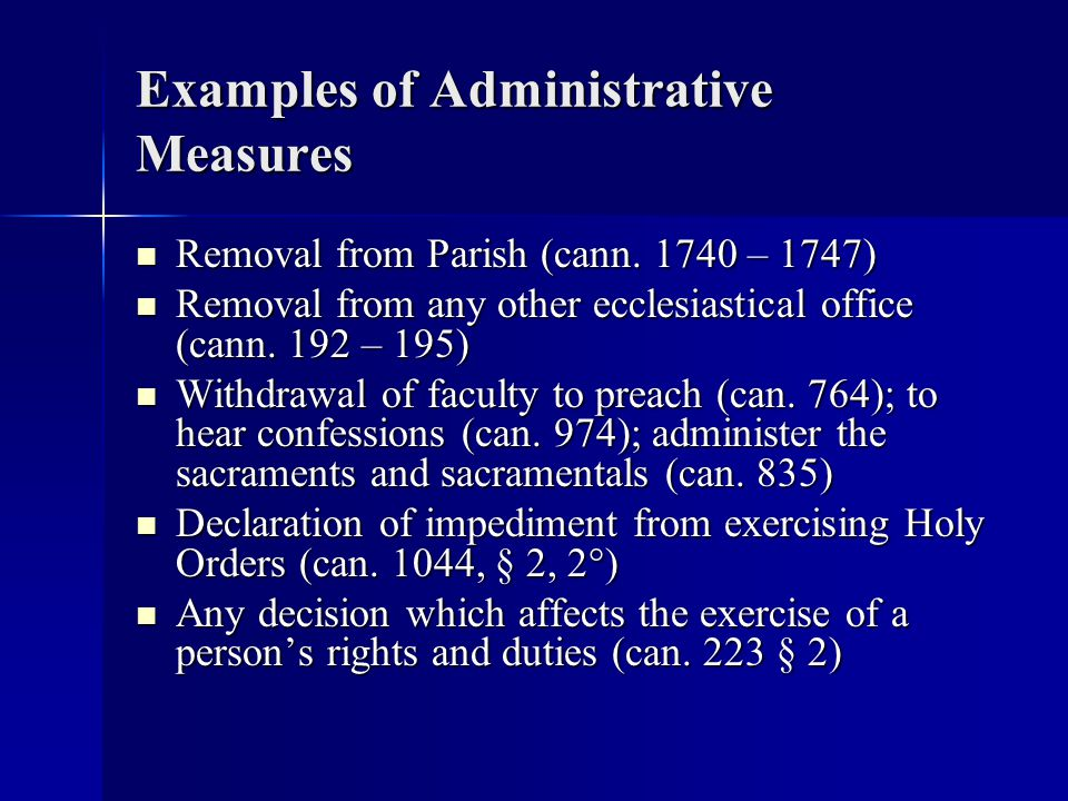 Examples of Administrative Measures