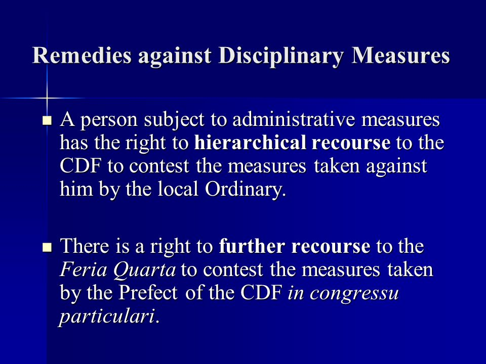 Remedies against Disciplinary Measures