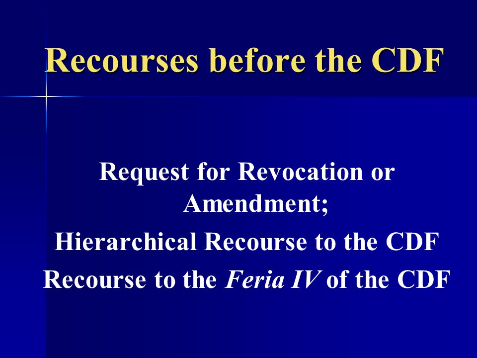 Recourses before the CDF