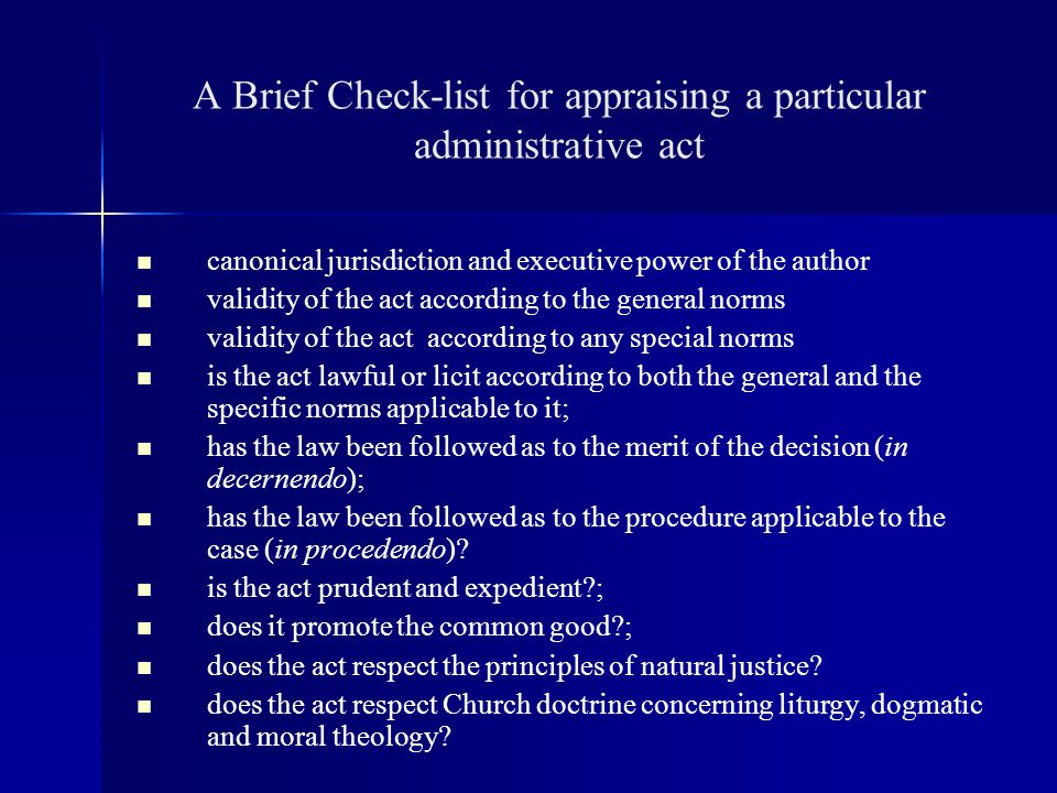A Brief Check-list for appraising a particular administrative act