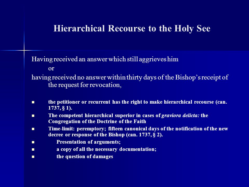 Hierarchical Recourse to the Holy See