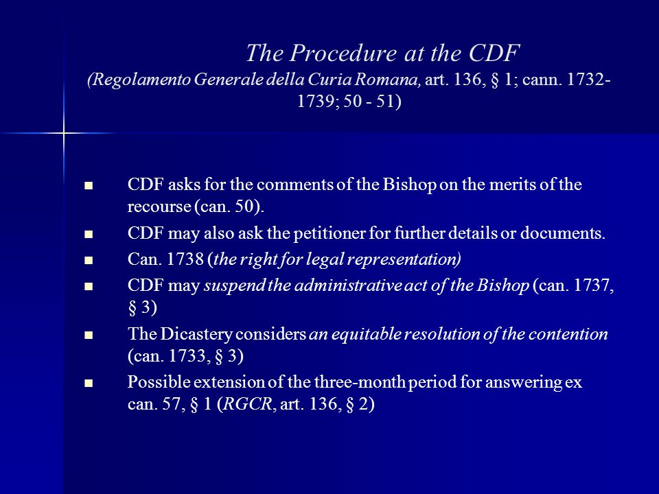 The Procedure at the CDF (Regolamento Generale della Curia Romana, art
