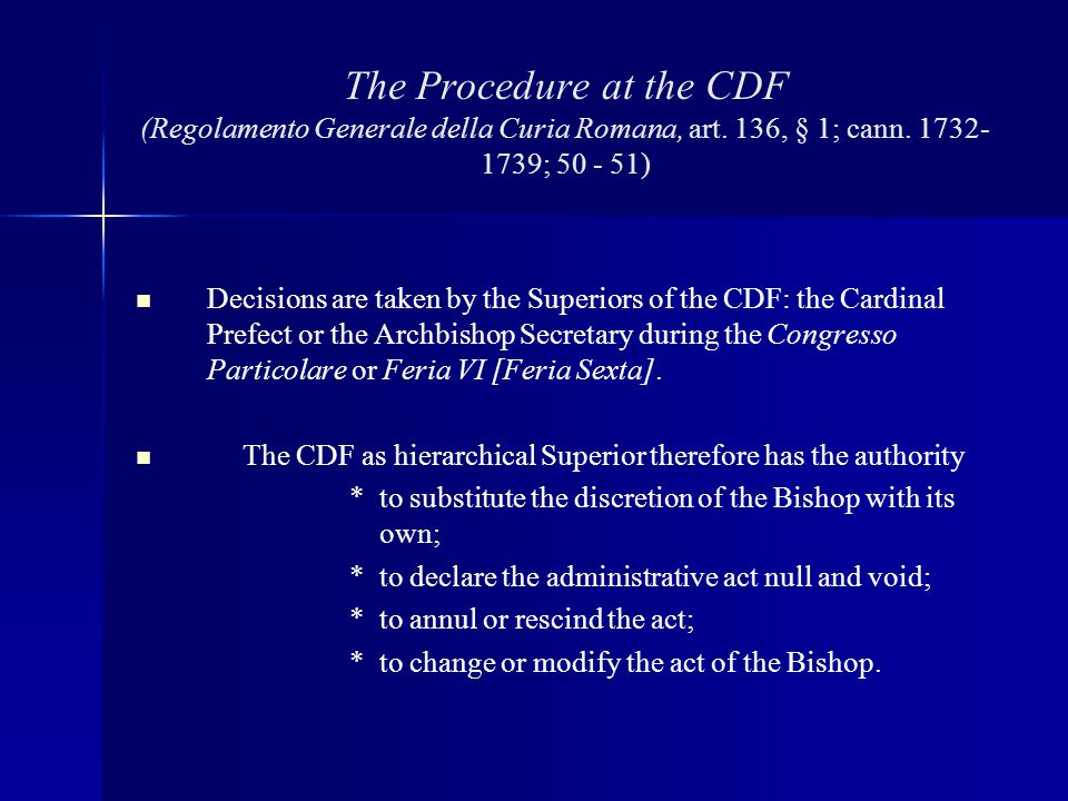 The Procedure at the CDF (Regolamento Generale della Curia Romana, art