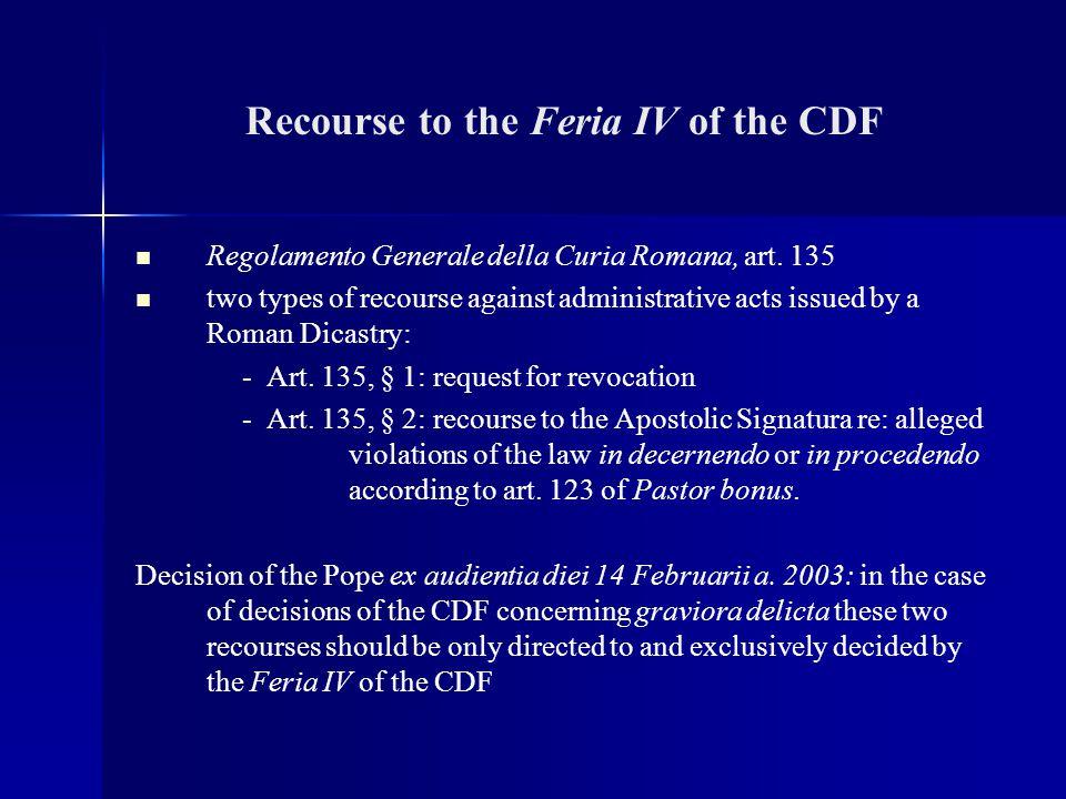 Recourse to the Feria IV of the CDF