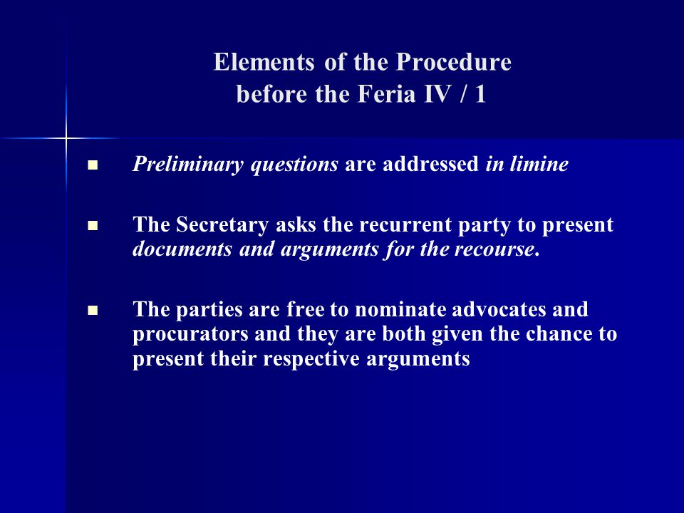Elements of the Procedure before the Feria IV / 1