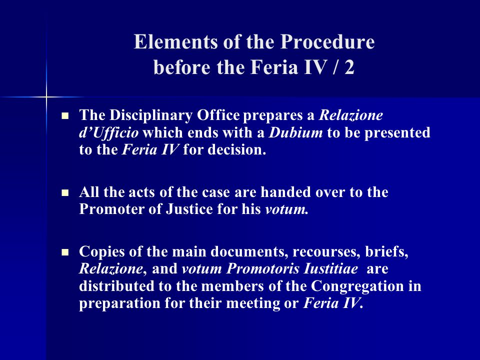 Elements of the Procedure before the Feria IV / 2