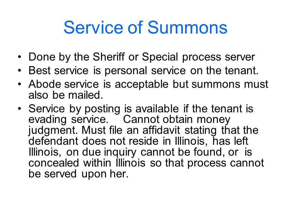 Service of Summons Done by the Sheriff or Special process server